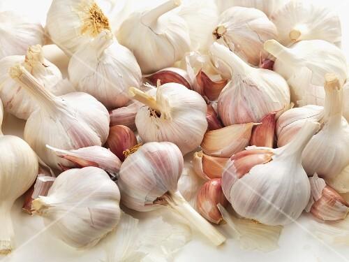 Many Fresh Garlic Bulbs