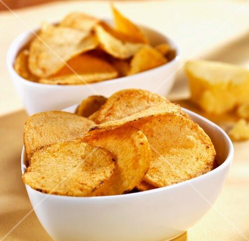 Bowls of cheesy potato chips
