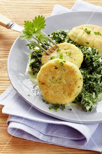Potato cakes with stinging nettles and spinach