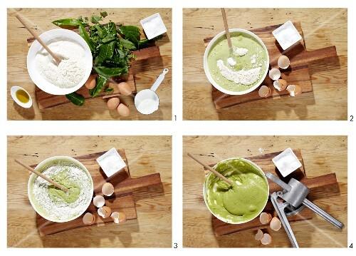 Herb spätzle (soft egg noodles from Swabia) being made