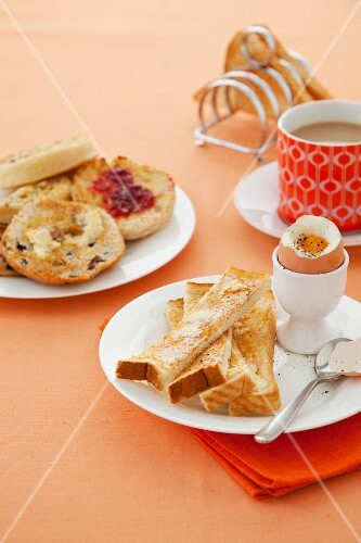 Breakfast with the soft boiled egg, toast and tea