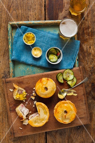 Pork pies with relish and beer (England)