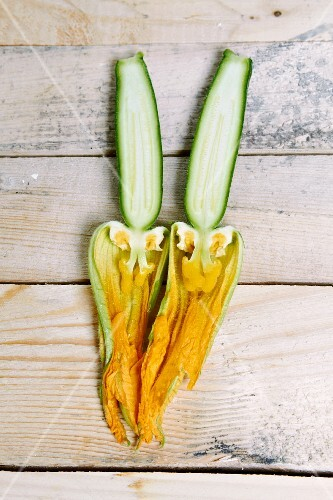 A halved courgette flower