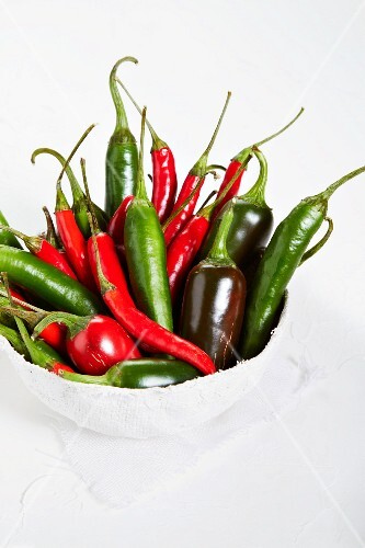 Fresh chilli peppers in a bowl