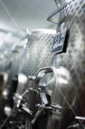 Stainless steel innoxtanks in a wine cellar, Fricktal, Aargau