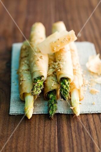 Asparagus wrapped in puff pastry