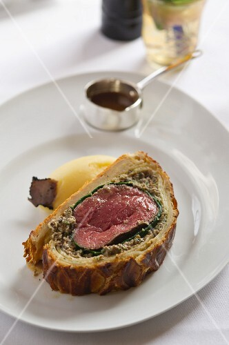 Fillet of beef wrapped in pastry