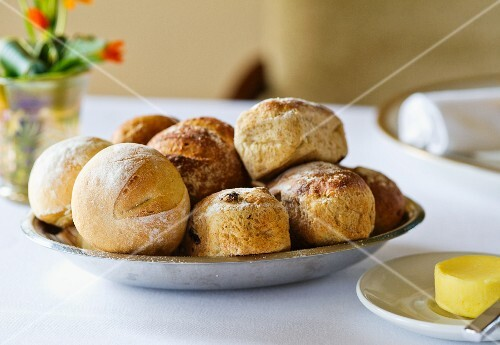 Bread rolls and biscuits in a breadbasket