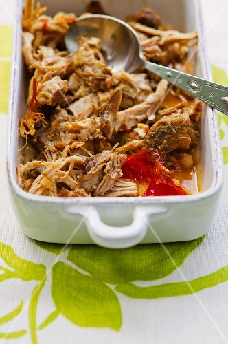 Pulled pork in a baking dish