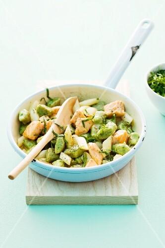 Wild garlic gnocchi with asparagus and salmon