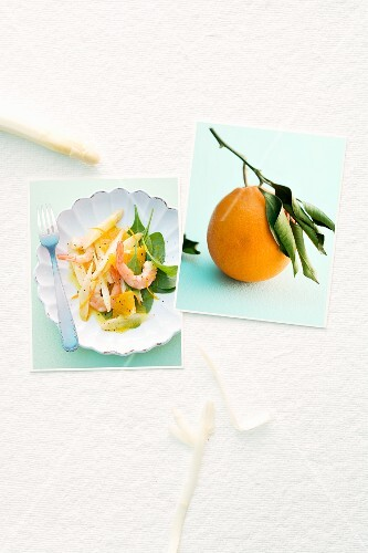 Image of an asparagus dish and an orange