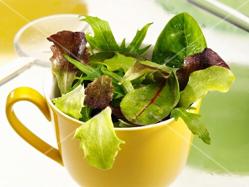Various lettuce leaves in a yellow cup