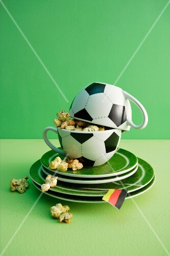 Football cups filled with spiced popcorn