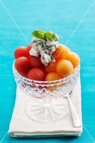 Melon balls with mascarpone and honey