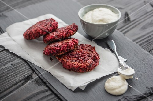 Beetroot cakes with coconut and creamy horseradish