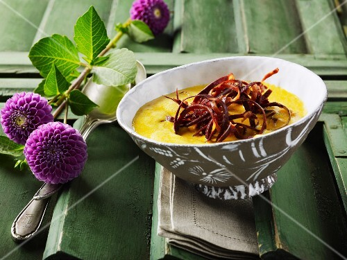 Pumpkin soup with carrot strips