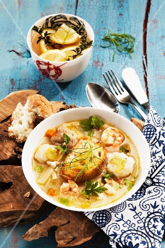 Fish soup with bread