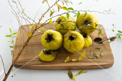 Fresh quinces on a wooden board