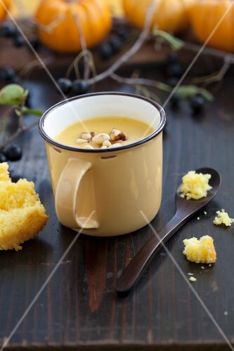Pumpkin soup with pine nuts