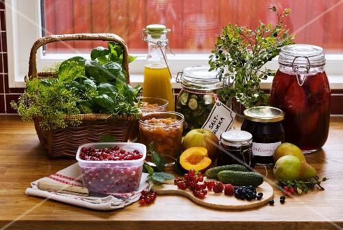 Various preserves and ingredients