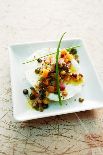 Buffalo mozzarella with a colourful lentil salad