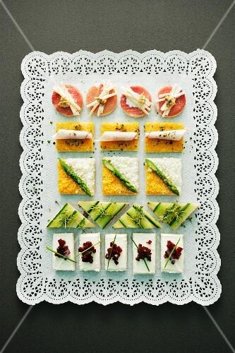 An elegantly arranged platter of canapés