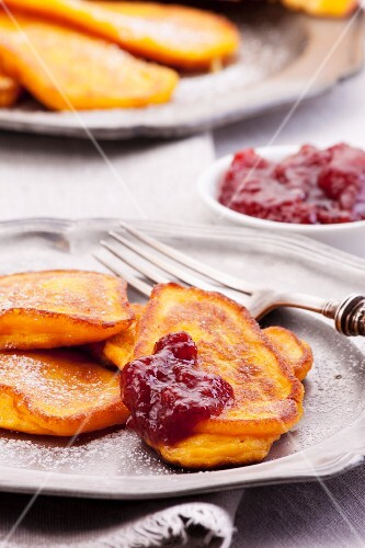 Pumpkin pancakes with cranberry jam