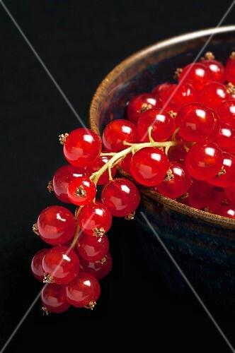 A bowl of redcurrants (close-up)