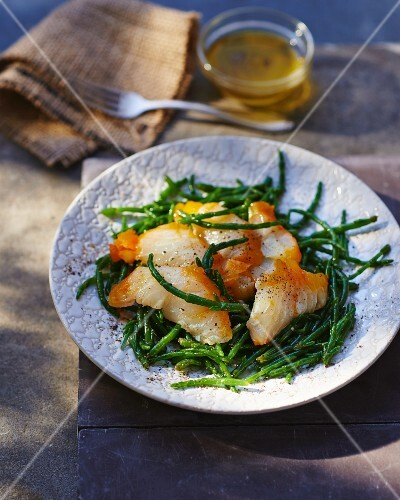 Smoked haddock on a marsh samphire salad