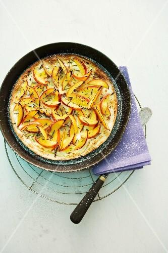 Peach and rosemary tarte flambée
