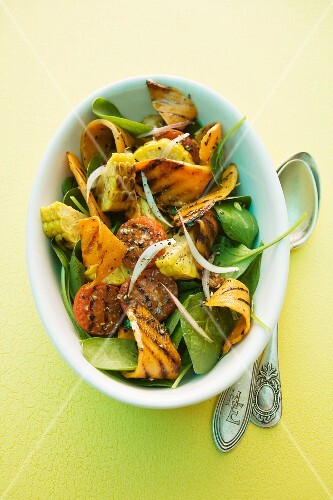 Salad made with grilled sweet potatoes and sweetcorn