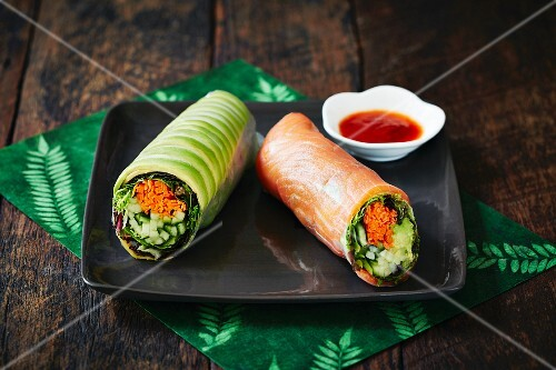 Rice paper rolls with cucumber and salmon (Japan)