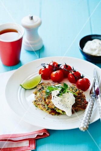 Courgette cake with herb quark and cherry tomatoes