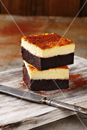 Chocolate and cream cheese slices