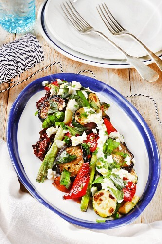 Grilled vegetable salad with sheep's cheese