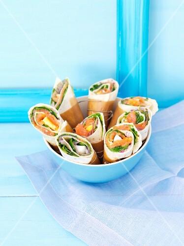 Salmon and egg wraps