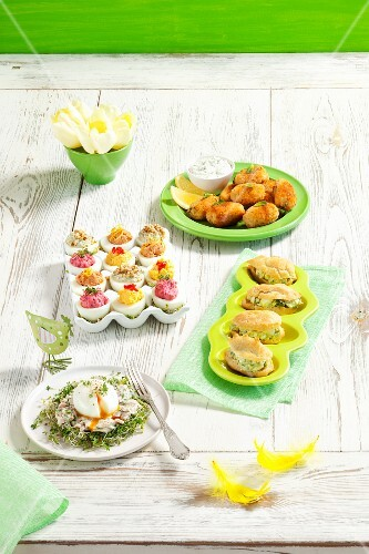Various appetisers made with mayonnaise