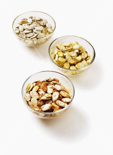Pumpkin seeds with various different spices
