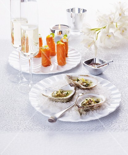 Oysters and salmon rolls