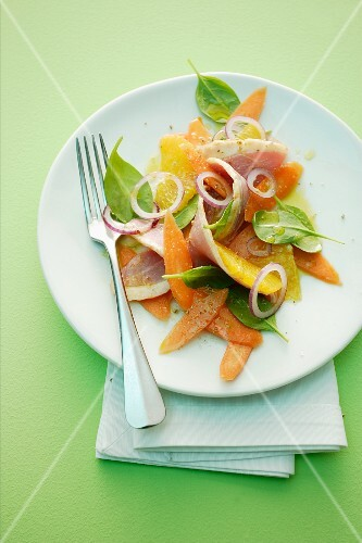 Carrot and orange salad with smoked duck breast