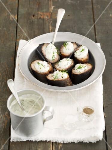 Smoked eel with a horseradish and ricotta cream