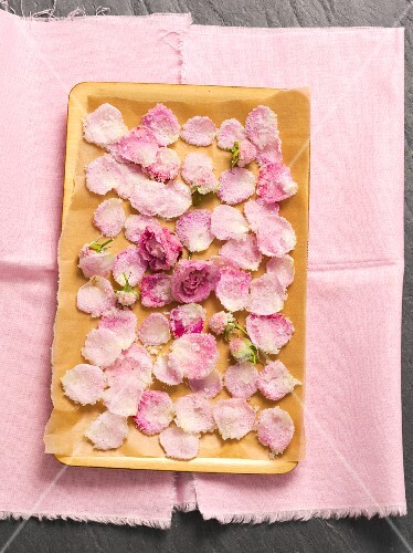 Sugared rose petals