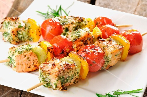 Salmon and vegetable skewers