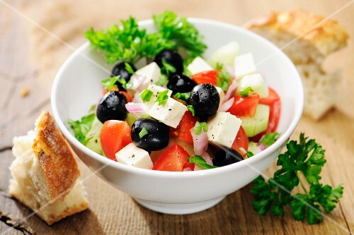Greek salad with black olives and feta cheese