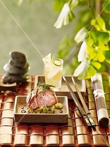 Pork with avocado and sesame seeds