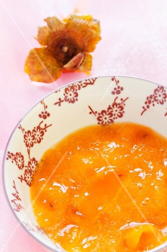 A bowl of persimmon puree