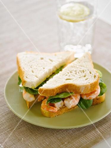 A prawn and spinach sandwich