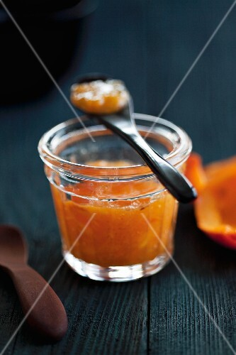 A jar of cold-stirred persimmon jam