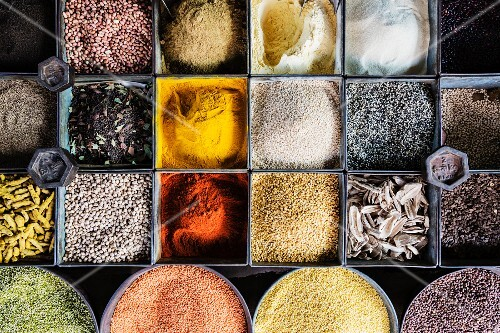 A variety of spices and lentils at a market (Jaisalmer, Rajasthan, India)