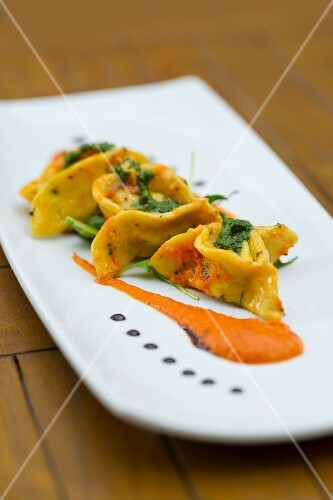Ravioli with crab and pesto